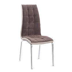 Jedálenská stolička Gerda new (hnedá + béžová + chróm)