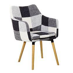 Jedálenská stolička Landor (čierno biely patchwork)