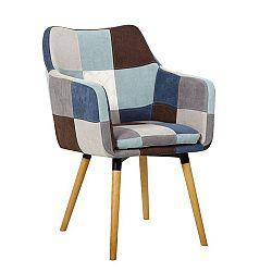 Jedálenská stolička Landor (modrobéžový patchwork)