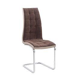 Jedálenská stolička Saloma new (hnedá + béžová + chróm)