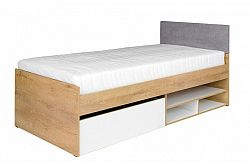 Jednolôžková posteľ Minley M7 (s roštom a úl. priestorom) (dub lefkas + biela)