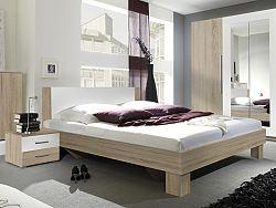 Manželská posteľ 160 cm Verwood Typ 51 (sonoma + biela) (s noč. stolíkmi)