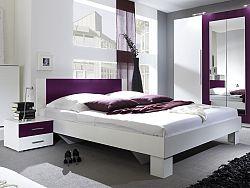 Manželská posteľ 180 cm Verwood Typ 52 (biela + fialová) (s noč. stolíkmi)