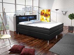Manželská posteľ Boxspring 140 cm Marilia I (čierna) (s matracmi)