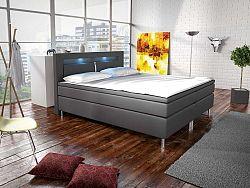 Manželská posteľ Boxspring 140 cm Marilia I (sivá) (s matracmi)