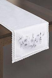 Obrus 40X140 cm Alyssa (biela + strieborná) (1 ks)