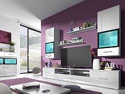 Obývacia stena Sapphire Typ 09 (biela + biely lesk)