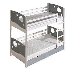 Poschodová posteľ 80 cm Kolin (s roštom a úl. priestorom)