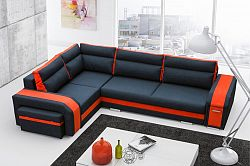 Rohová sedačka Asperata (tmavosivá + oranžová) (L)