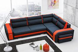 Rohová sedačka Asperata (tmavosivá + oranžová) (P)