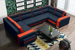 Rohová sedačka Asperata U (tmavosivá + oranžová) (L)