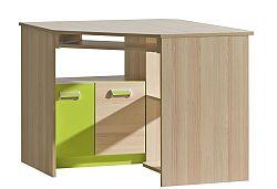 Rohový PC stolík Lavendon L11 (zelená)