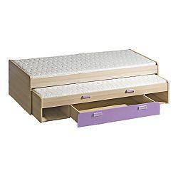 Rozkladacia posteľ 80 cm Lavendon L16 (s roštami) (fialová)