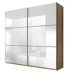 Šatníková skriňa Benson Typ 58 (san remo svetlý + biela + zrkadlo)