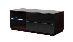 TV stolík/skrinka Toft Typ 41 (wenge + čierne sklo)